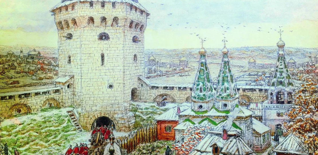 Erection of the white-stone walls of the Moscow Kremlin